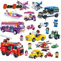 BanBao Police Car Helicopter Fire Fighting Truck Bus Boat Girls Boys Building Blocks Bricks Educational Model Toy Children Kids