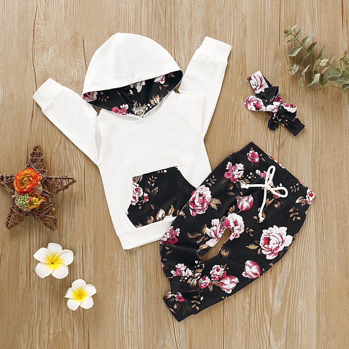Floral Pants+Headband Newborn Baby Girl Clothes Infant Outfit 3 PCS Ruffle Tops