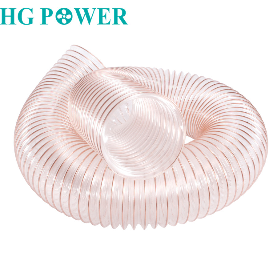 2m 100mm Air Duct Hose PU Polyurethane Tube With Steel Wire Transparent Hose Industrial Watertight & Airtight Flexible Hose Pipe