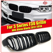 F30 Front Grills 2-Slat Grille ABS Gloss Black 1 Pair Fits For 3-series 318i 320i 325i 340i 335iXD Front Kidney Grille 2014-2018 3 pair front