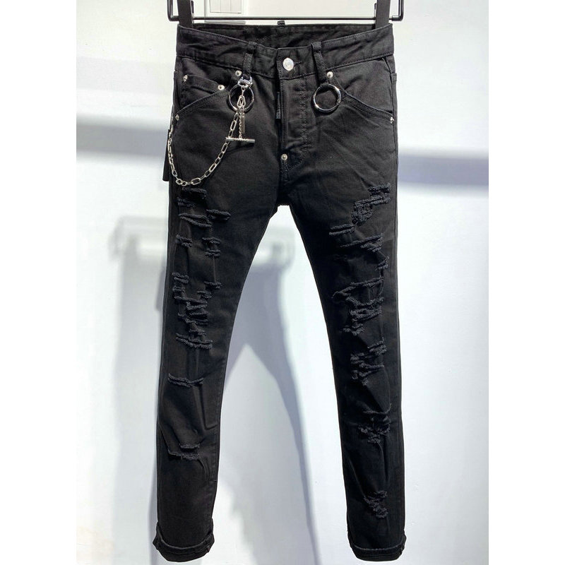 Cowboy 2020 Mens Cool Designer Brand Black Jeans Skinny Ripped Stretch Slim Fit Hip Hop Pants Destroyed Holes Men Metal Chains