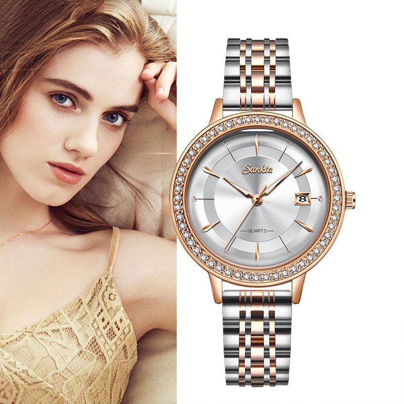 2020 SUNKTA New Rose Gold Women Watch Business Quartz Watch Ladies Top Brand Luxury Female Wrist Watch Girl Clock Relojes Mujer