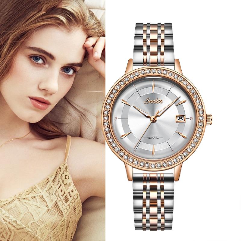 Saatler'ten Kadın Saatleri'de 2020 SUNKTA yeni gül altın kadın izle iş quartz saat bayanlar üst marka lüks kadın kol saati kız saat Relojes Mujer title=