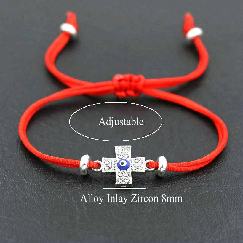 男性クロスチャーム邪眼ブレスレット赤スレッド String ブレスレットロープ調節可能な女性のカップルジュエリー