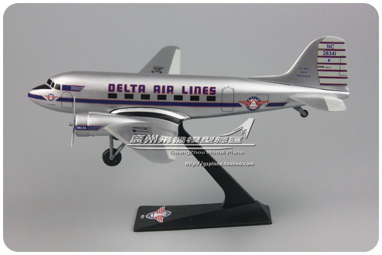 American Airlines DELTA DC-3 Scale 1: 100 Assembled Plastic <font><b>Aircraft</b></font> <font><b>Model</b></font> 19cm Colletive Molde for Adult and Kids image