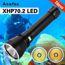Brightest XHP70.2 Most Powerful LED Scuba Diving Flashlight 200m Underwater Torch 4000LM IPX8 Waterproof XHP70 dive Lamp lantern