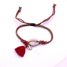 Anklet bracelet jewelry Bohemian peace circle tassel shell ladies anklet fashion charm beach party anklet gift wholesale(China)