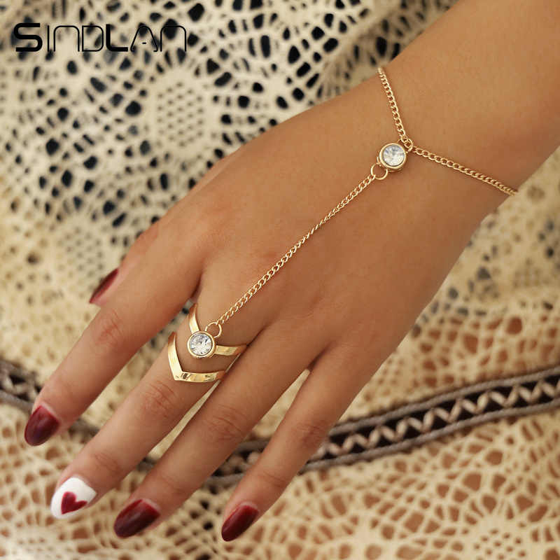 Sindlan Gold Big Crystal Ring Bracelet for Women Wrist Chain Jewelry Fashion Hand Back Chain Bangles Female Arm Link Ornaments