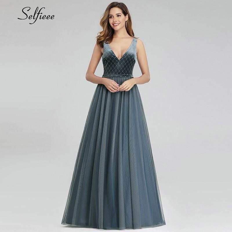 Vintage Patchwork Women Dresses A-Line V-Neck Sleeveless Velour Elegant Dusty Blue Summer Maxi Dresses Vestidos De Festa 2019