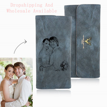 Women's Photo Engraved Trifold Photo Wallet - Blue Leather.Custom Picture Leather Wallet.Photo Engraved Wallet Personality