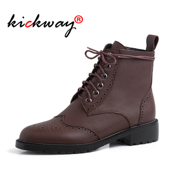 Women's flat ankle boots genuine leather classic boots British Style oxford shoes fashion office lady shoes black brown 34-39