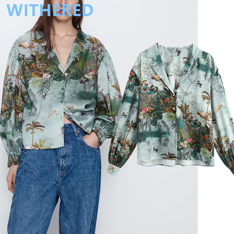 Withered England Vintage Tropical Print Notched Loose Blouse Women Blusas Mujer De Moda 2020 Kimono Shirt Womens Tops And Blouse