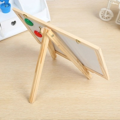 Wood Double-Sided Magnetic Multi-functional Braced Small Drawing Board Small Blackboard Message Board Children Creative Mini Adv