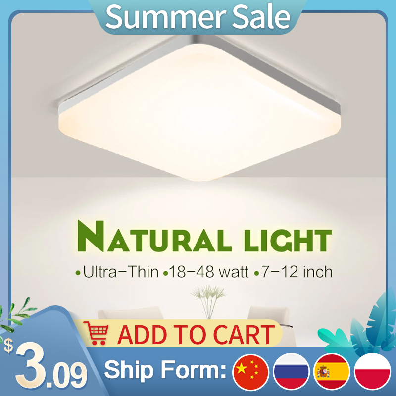 LED Ceiling Lamp Home Modern Panel Light Natural White Warm Cold White Round Square Ceiling Lights Living Room Bedroom Kitchen