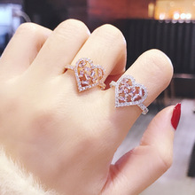 Fashion Heart Rings For Women 2019 New Full Rhinestone Paved Adjustable Ring gorgeous rhinestone heart cuff ring for women