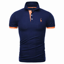Dropshipping 13 Colors Brand Quality Cotton Polos Men Embroidery Polo Giraffe Shirt Men Casual Patchwork Male Tops Clothing Men