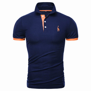 Image 1 - Dropshipping 13 cores marca qualidade polos algodão bordado polo girafa camisa masculina casual retalhos masculinos topos roupas