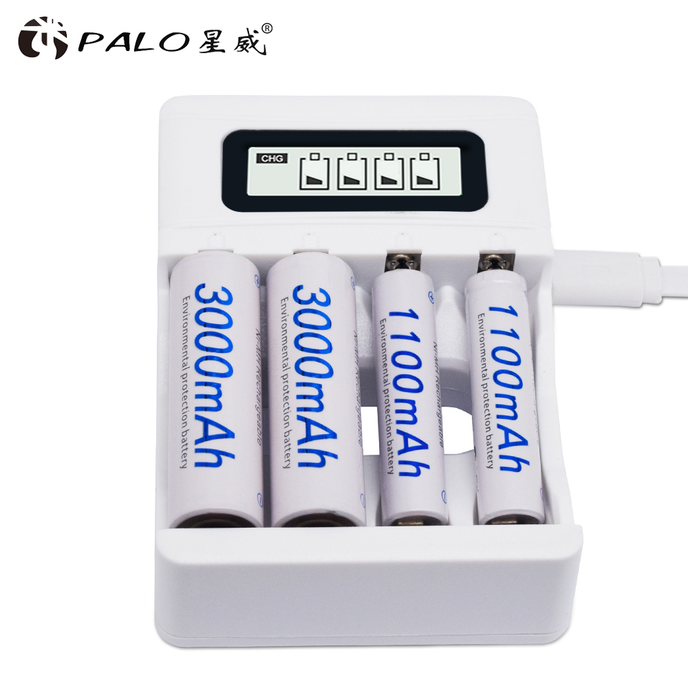 4 Slots Ulrea Fast Smart Intelligent Battery Usb Charger For AA / AAA NiCd NiMh Rechargeable Batteries LCD Display