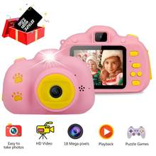Kids Camera Toys Kids Digital Camera 18MP HD With 32G Card 2.4 Inches Screen Dual Selfie Video Game Camcorder Toys For Children(China)