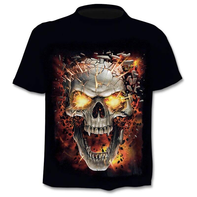 Angry Skull 3D Male Horror T-Shirt Short Sleeve Top Summer New T-Shirt Hip-Hop Style 3D Skull T-Shirt Camisetta