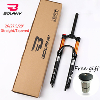 BOLANY MTB Fork Bike Suspension 26'' 27.5'' 29 Tapered/Straight Fork Disc Steerer Brake 100mm Travel QR Bicycle Air Forks