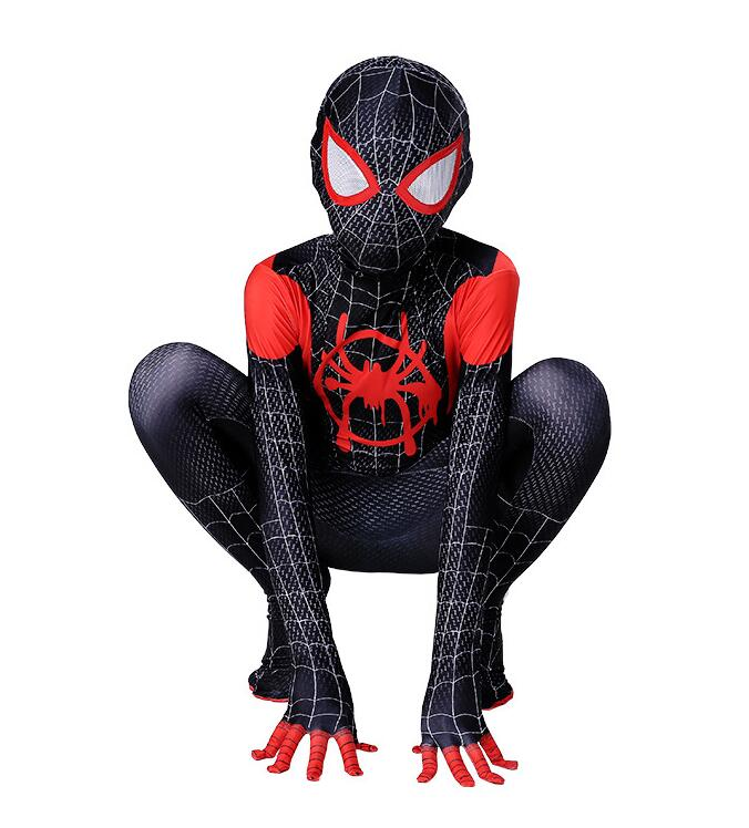 2019 New Children's Costume Spider Verses Spider Miles Morales Cosplay Costume Zentai Spider Pattern Body Bodysuits