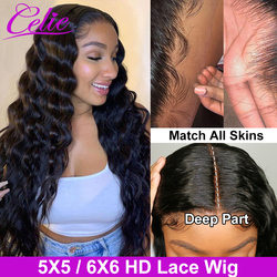 Celie Hair Loose Deep Wave Wig HD Transparent 5X5 6x6 Closure Wig 30 Inch Lace Front Human Hair Wigs Loose Deep Wave Wig