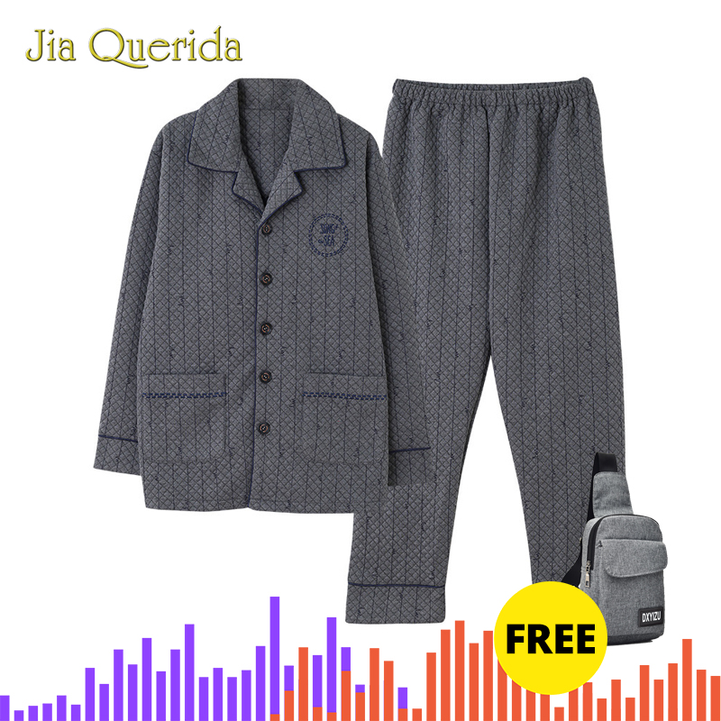 Winter Men's Pajamas Pure Cotton Cardigan Warm 100% Cotton Grey Men's Long Sleeve Suits Plus Size Embossing Pattern Home Clothes
