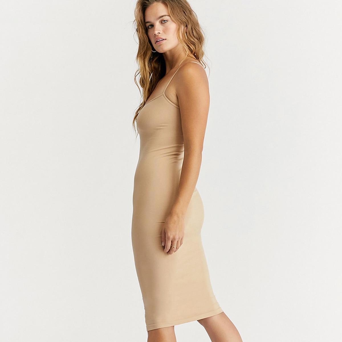 Seamless Nude Slip Dress 2020 Summer Autumn Women Adjustable Strap Sexy Vestidos Stretchy Bodycon Slim Midi Dress Underdress