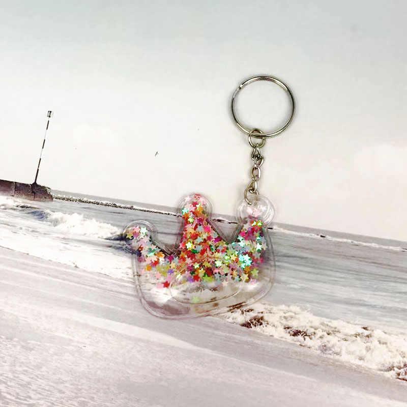 لطيف القلب المفاتيح بريق الرمال المتحركة ستار المفاتيح مفتاح حامل سحر حقيبة سيارة مسحوق يتحرك السائل حلقة رئيسية الديكور هدية