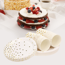 90 шт одноразовые стаканы, посуда, Золотая круглая точка, тарелки для торта, чашки для напитков, свадебные украшения, посуда