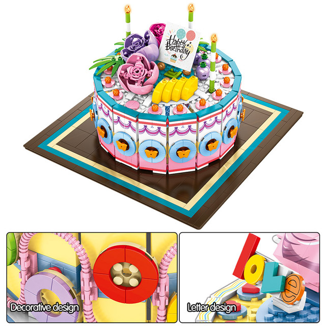 SEMBO New Birthday Cake Toys Gift Racing Car City Street View Idea Building Blocks Bricks Educational Toys for Girls