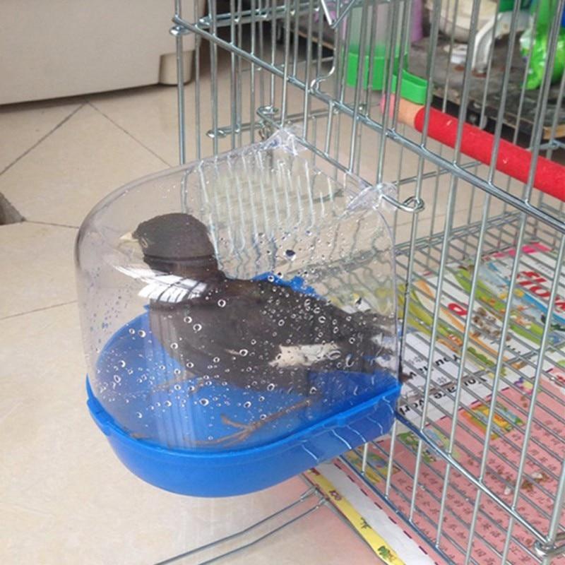 Plastic Bird Water Bath Box Bathtub Parrot For Parakeet Lovebird Bird Pet Cage Hanging Bowl Parakeet Birdbath  *