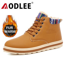 Men Boots Warm Fur Snow For Leather Winter Shoes Ankle Footwear Mens Shoe Booties