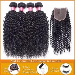 Афро кудрявые вьющиеся пряди с застежкой, человеческие волосы, пучки с застежкой для наращивания, бразильские пучки для плетения волос пряд...