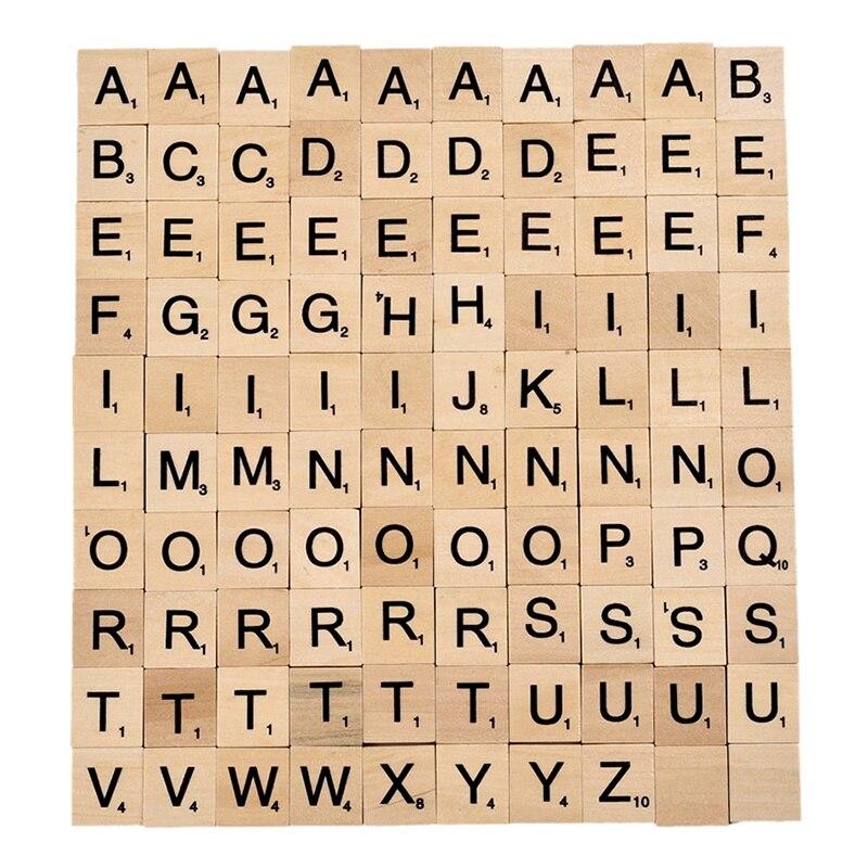100 шт. деревянные эмульсионные плитки буквы Алфавит Scrabbles номер ремесло английские слова SP99