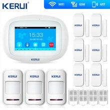 Kerui K52 شاشة تعمل باللمس كبيرة نظام إنذار واي فاي GSM TFT اللون عرض نظام إنذار المنزل الأمن PIR كاشف حركة