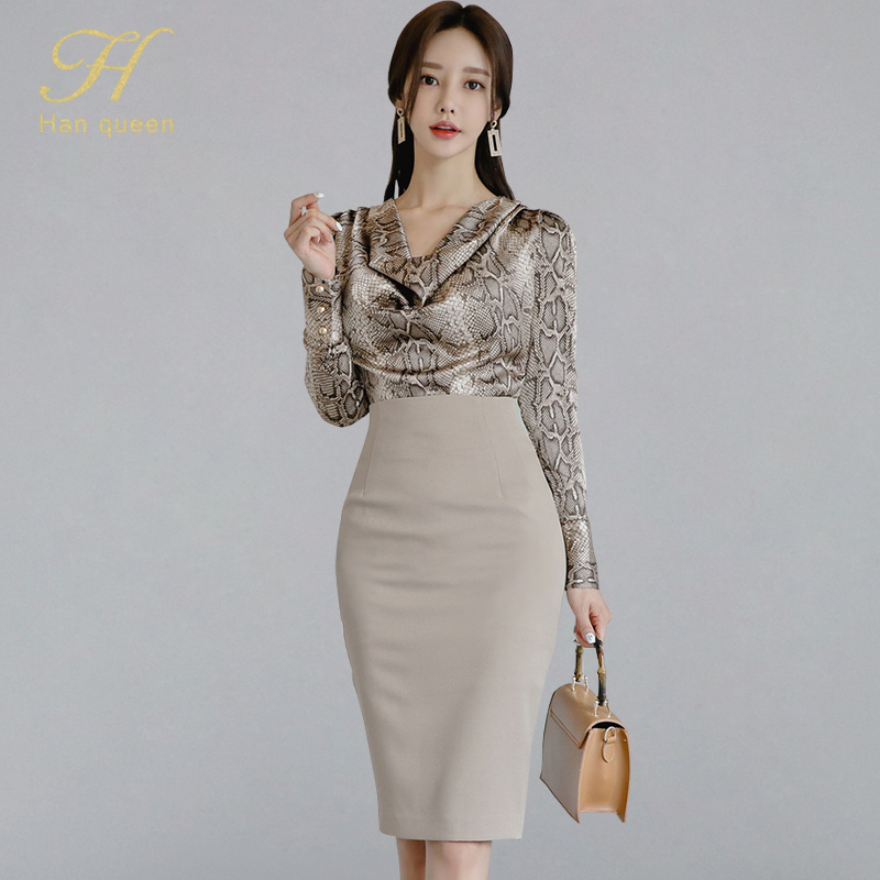 H Han Queen Women 2019 Autumn Sexy OL Work Wear 2 Pieces Set Pile Collar Snakeskin Pattern Blouses & Sheath Pencil Bodycon Skirt(China)