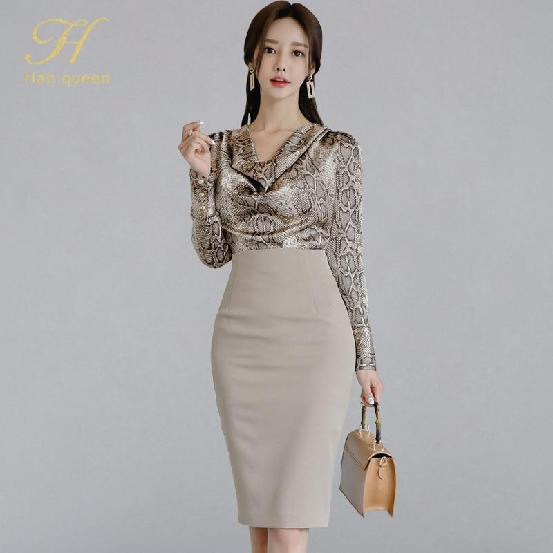 H Han Queen Women 2019 Autumn Sexy OL Work Wear 2 Pieces Set Pile Collar Snakeskin Pattern Blouses & Sheath Pencil Bodycon Skirt(China)