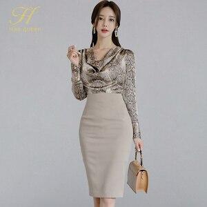 Image 1 - H Han Queen robe Sexy pour femmes, ensemble de 2 pièces pour le travail OL, Blouses et fourreau à col pilon, motif serpent, automne 2019