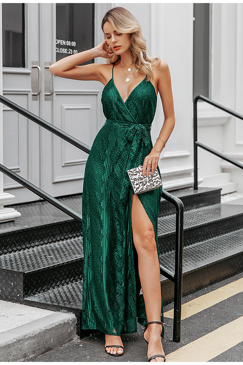 Green V Neck Sleeveless Floral Dress