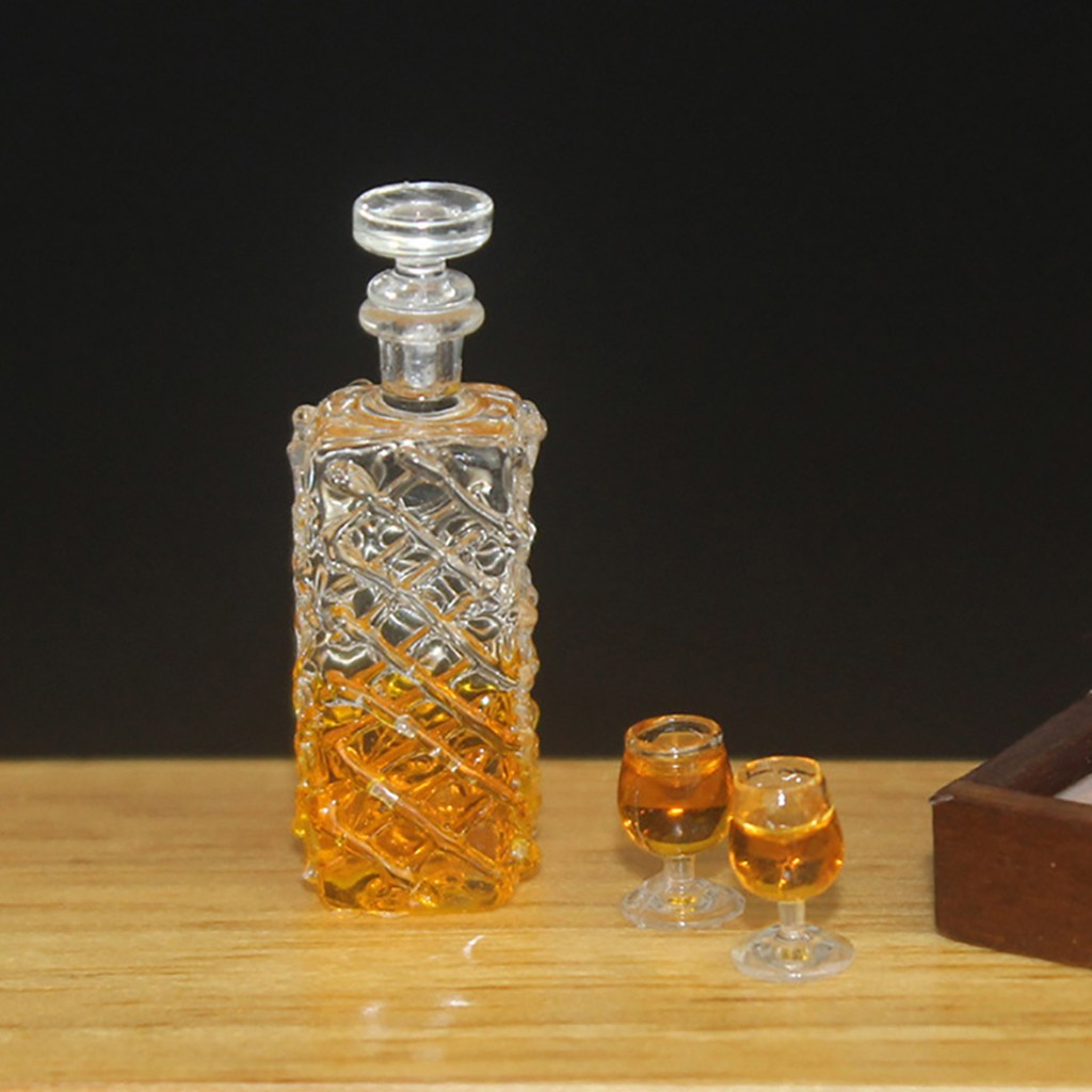 Dollhouse Miniature Large Green Corked Glass Bottle Wine Decanter 1:12 Scale