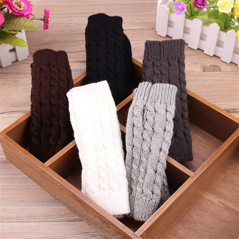 Hot Sale Women Wool Gloves Mitten Warm Fingerless Gloves Hand Warmer Winter Women Arm Crochet Knitting Faux Gloves Gants Femme