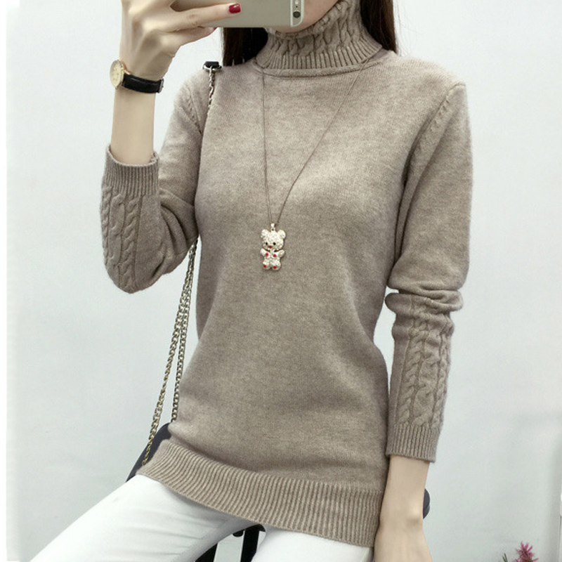 Solid Knitted Long Sweaters Casual Jumpers Korean Style Turtleneck Warm Slim Pullovers Sueter Mujer 2020 Winter Autumn Women