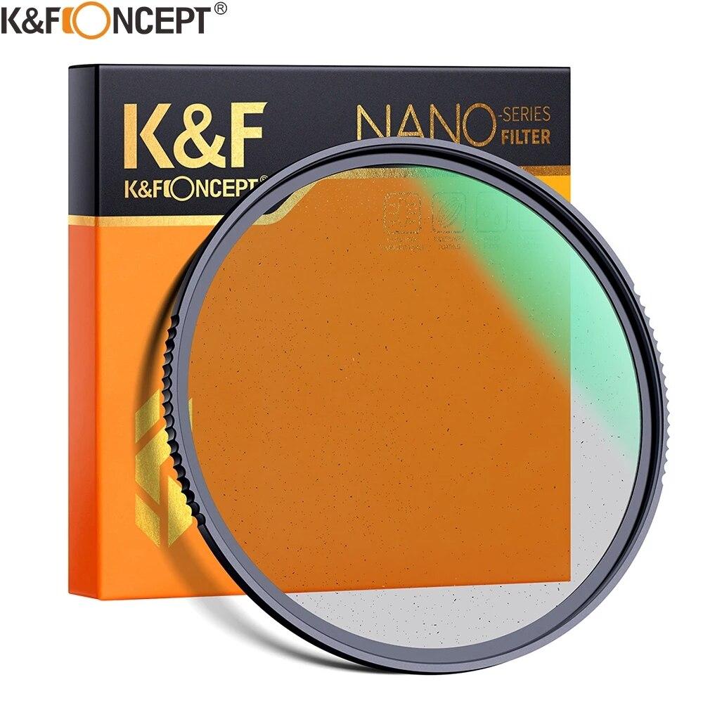 Фильтр для камеры K & F Concept 1/4 и 1/8 Black Pro Mist, специальный эффект для съемки видео 49 мм 52 мм 58 мм 62 мм 67 мм 77 мм 82 мм
