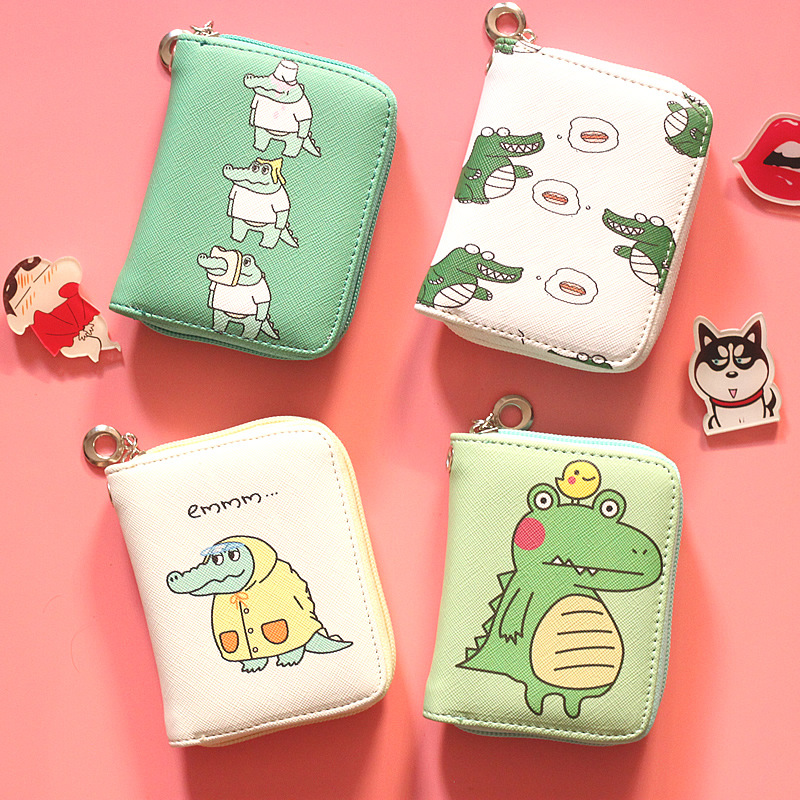 Cute Meng Crocodile Coin Purse Cartoon Anime Girl Short Zip Wallet