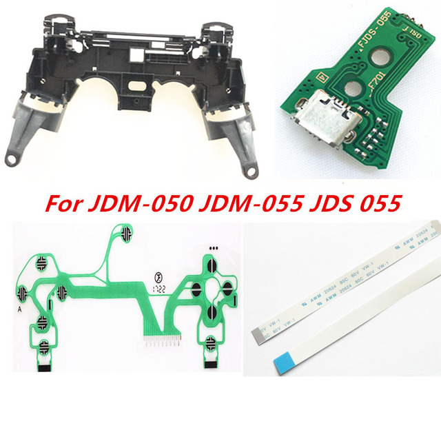 For PS4 JDM 050 JDM 055 JDS 055 JDS 050 Controller Repair Key Holder Inner Frame Charging Board Flex Ribbon Cable ConductiveFilm