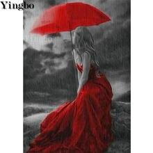 Новинка стразы вышивка крестиком красный зонт для девочек 5d