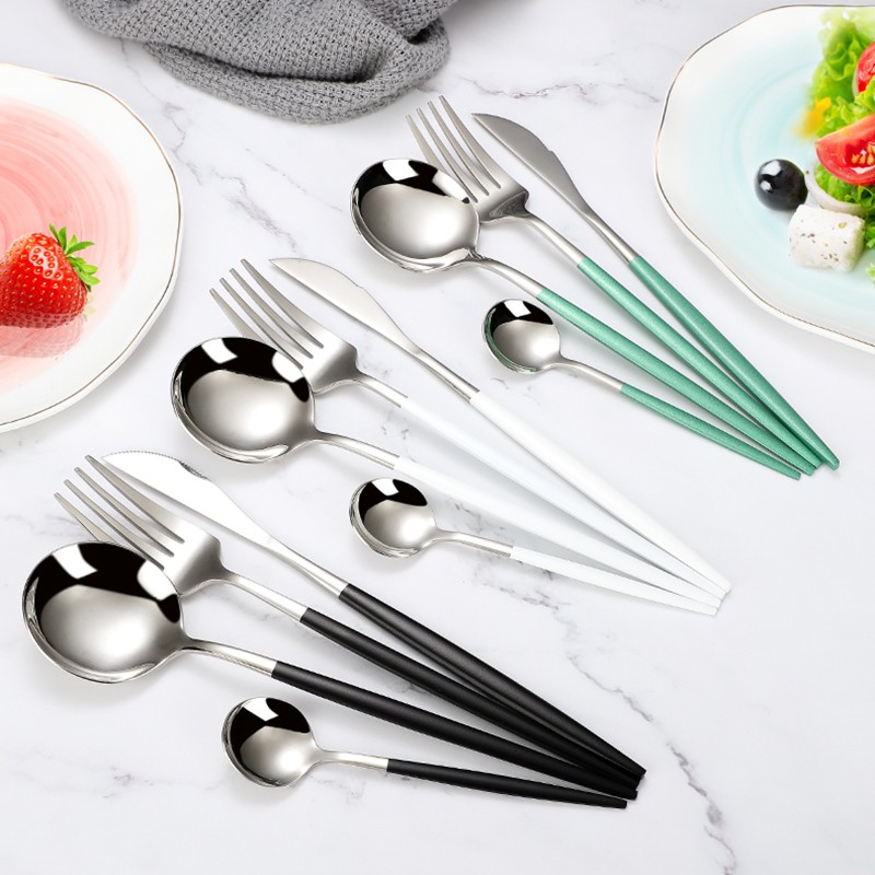 4Pcs/set Black Gold Cutlery Set 18/10 Stainless Steel Dinnerware Silverware Flatware Set Dinner Knife Fork Spoon Dropshipping 3