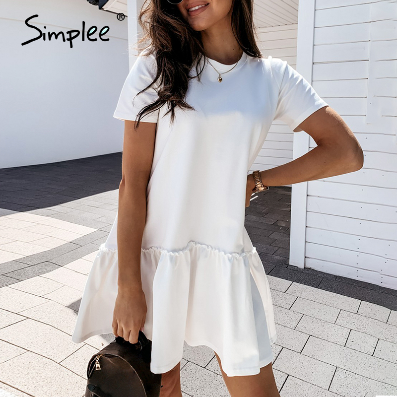 Simplee Casual crew neck ruffle women dress Short-sleeved solid color loose short dress Summer style A-line ladies mini dress